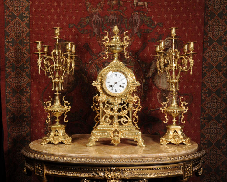 Antique Clock Set ~ French Gilt Brass