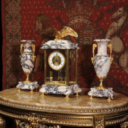 Library Four Glass Crystal Regulator Clock Set in Marble and Ormolu by Fritz Marti from Dragon-Antiques.com