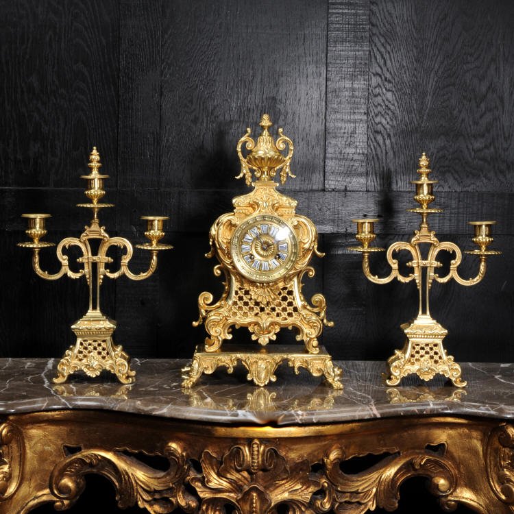 Antique French Gilt Bronze Rococo Clock Set